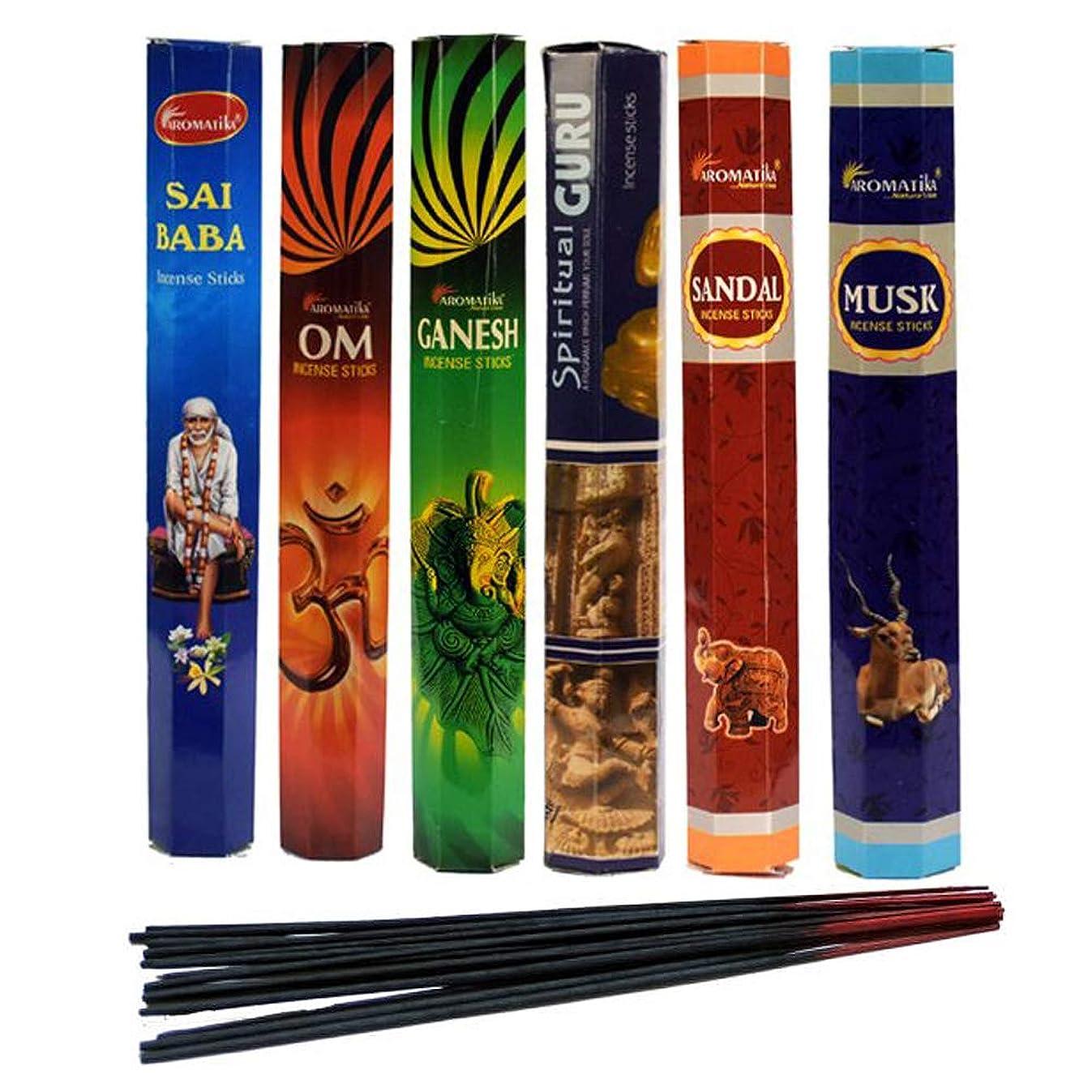インフレーション舞い上がる八aromatika Incense Sticks Best Sellers Spiritual Hexa 6ボックスX 20スティック、コンボパック、合計120?Sticks ( 120?Sticks )