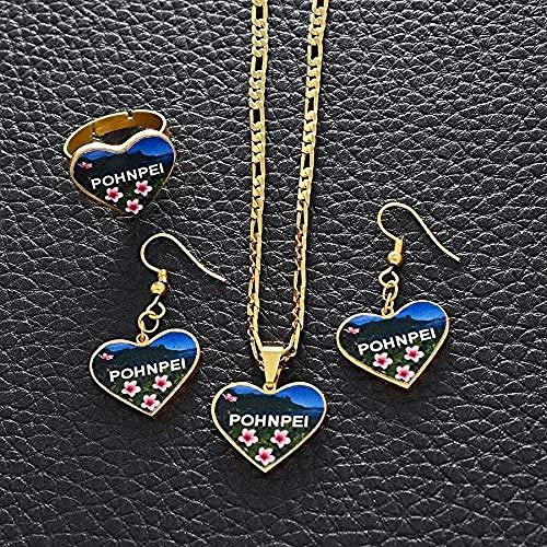 YOUZYHG co.,ltd Collar Conjuntos de Joyas Banderas Corazón Collares Pendientes Anillos Joyería Hawaiana de Guam
