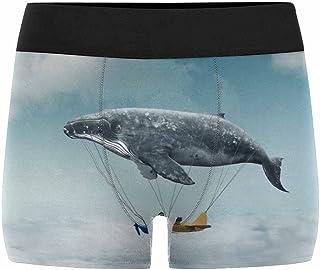 INTERESTPRINT Mens Boxer Briefs Underwear Shark Fly in The Sky XS-3XL