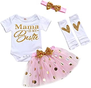 Happy 1st Fathers Day Baby Girl Outfit Letter Print Rompers+Tutu Dresses Shorts++Leggings+Headband 4PCS Skirt Set