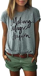 BLACKMYTH Hipster Mujer Suelta Camisetas Divertidas Redondo Manga Corta Casual Algodón Para Estampar T-shirt