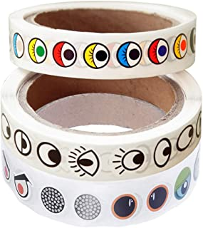 SUPVOX 3pcs Colorful Eye Stickers Roll Paper Sticker DIY Decals crafts for Children Baby Kids