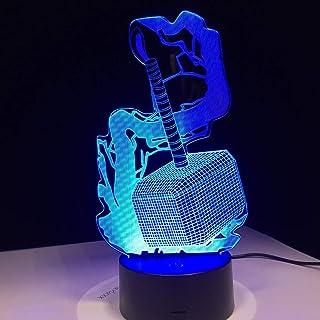 FACETO Wind Avengers Allianz Thor Martillo 3D led Noche Lámpara película Anime Imagen luz Nocturna creativos Niños Dormitorio Noche Lámpara de Mesa