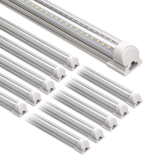 Barrina LED Shop Light, 8FT 72W 9000LM 5000K, Daylight White, V Shape, Clear Cover, Hight Output, Linkable Shop Light...
