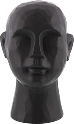 Benjara 11 Inches Geometric Ceramic Bust, Black