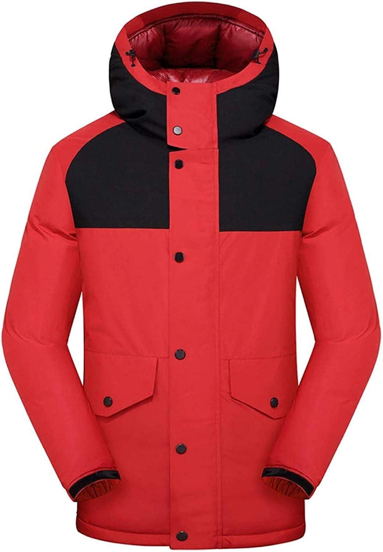 Men's Windproof Color Block Hooded Down Alternative Jacket Winter Coat