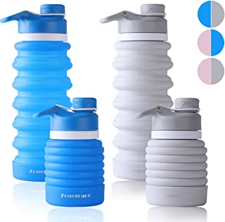 Zonegrace 2 Pack Collapsible Water Bottle BPA Free, FDA Approved Food-Grade Silicone Portable Leak Proof Travel Water Bottle for Outdoor, Gym, Hiking, 750ml/25oz