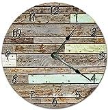 Tamengi Orologio da Parete, Stupefacente Orizzontale Disposto Legno Tavole Orologio Soggiorno Orologio Grande Parete Legno Stampa Home Decor Clock 4374 25,4 cm