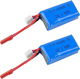 Crazepony 2pcs 400mAh 2S 7.4V 30C LiPo Battery Pack with JST Plug for Micro FPV Racing Drone Quadcopter