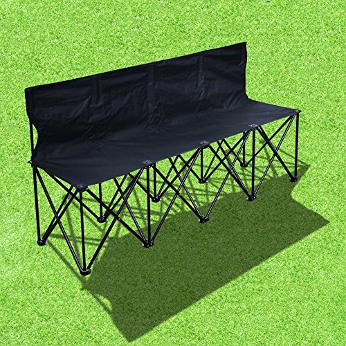 BenefitUSA 4 Seater Sideline Bench Portable Folding Team Sports Bench Sits Outdoor Waterproof- BLACK