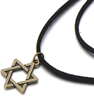 Ladies Black Choker Necklace with Star of David Charm Pendant