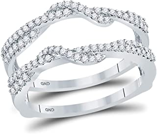 Anillo de oro blanco de 10 quilates con diamantes redondos para él y para ella, anillo de boda de 3/8 quilates.