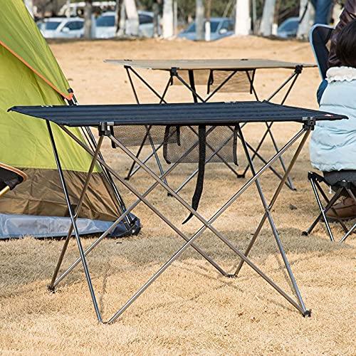 HZRKJ Mesa de Aluminio portátil Plegable, Mesa de Camping de Picnic multipropósito, diseño Impermeable y Antideslizante de pies, fáciles de Plegar para la Playa Playa Barbacoa para Barbacoa Exterior