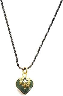 ThongDee مجوهرات القلب اليشم قلادة قلادة اليد المنسوجة للرجال النساء طول قابل للتعديل