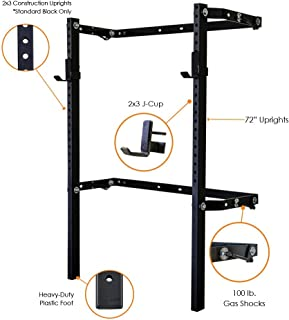 PRx Performance (as seen on Shark Tank Profile Squat Rack, Wall Mounted Home Gym Fitness Equipment, Powder Coated 2x3 73 inch Uprights