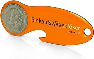Code24 Einkaufswagenlöser Münze, Profiltiefenmesser, Schlüsselanhänger mit Einkaufschip & Schlüsselfinder, inkl. Registriercode für Schlüsselfundservice, Einkaufswagenchips, Key Finder, orange