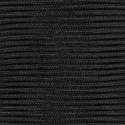 PARACORD PLANET 550 Assorted Colors of Paracord in 50 and 100 Foot Lengths Made in The USA (Black, 100 Feet)