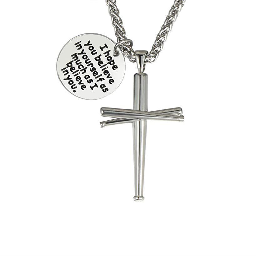 WMISIY 18-24 Inches Baseball Cross Necklace for Boys Men Chain Stainless Steel Baseball Bat Pendant Silver