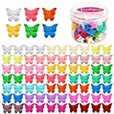 Butterfly Hair Clips for Girls Women, Funtopia 72Pcs Small Hair Claw Clips with Box Package, Cute Non Slip Mini Plastic Jaw Clips, 18 Assorted Colors