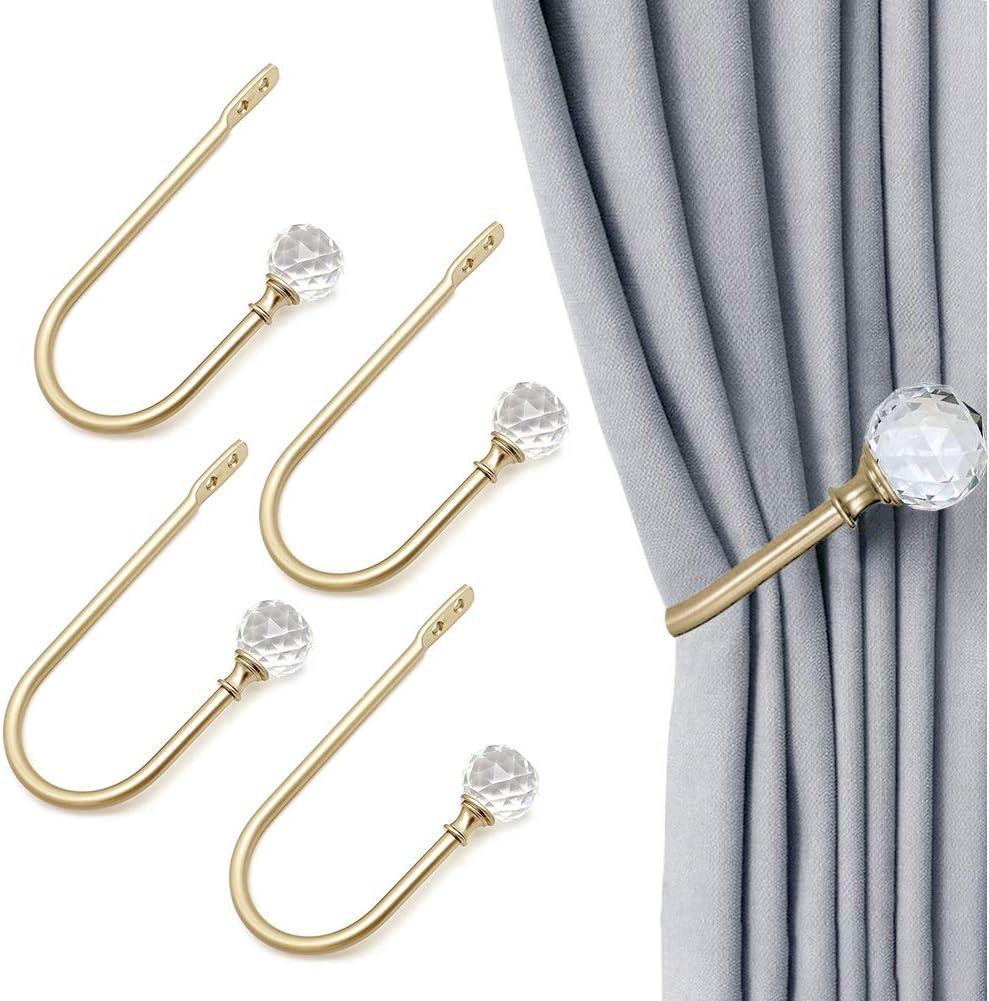4 Pack U Shaped Decorative Wall Curtain Rod Hooks with Clear Crystal Ball Copper COOLPEEN Curtain Drapery Holdbacks Window Treatment Tiebacks