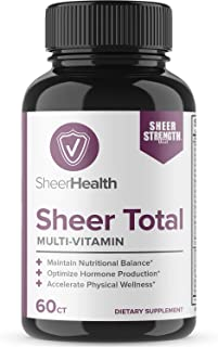 Men's Daily Multivitamin & Multimineral Supplement (60ct) | Vitamins B1 B2 B6 B12 C D D3 E K2 + Magnesium, Zinc, More | Supports Male Health & Performance - Total - Sheer Strength Labs