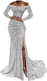 KAIXLIONLY Women's Off Shoulder Sequin Evening Party Maxi Dress High Split Long Formal Evening Prom Gown