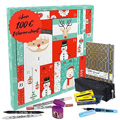 """ONLINE Adventskalender 2021 \""""Bullet Journal"""" für Mädchen I Kinder Geschenkidee zur Adventszeit I für Farbe und Kreativität im Schulalltag I Insgesamt 39 hochwertige Schreibwaren"""