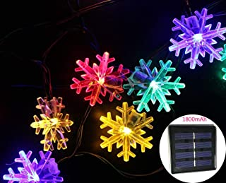 SPLOcolor Solar Snowflake String Lights 20ft 30 LEDs Waterproof 8 Modes Solar Powered String Fairy Lights Christmas Lights Patio Lights Indoor Outdoor Lighting for Patio Holiday Party Gar