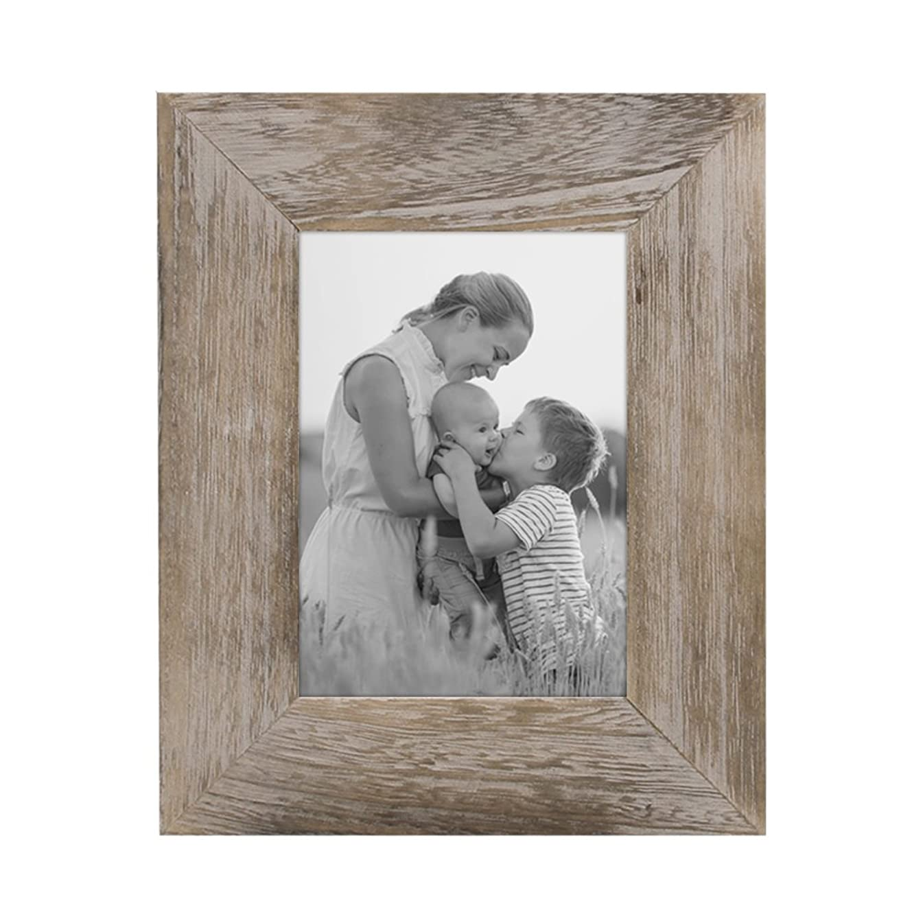 Afuly Rustic Picture Frame 5x7 Brown Distressed Reclaimed Wood Photo Frames Fathers Gifts