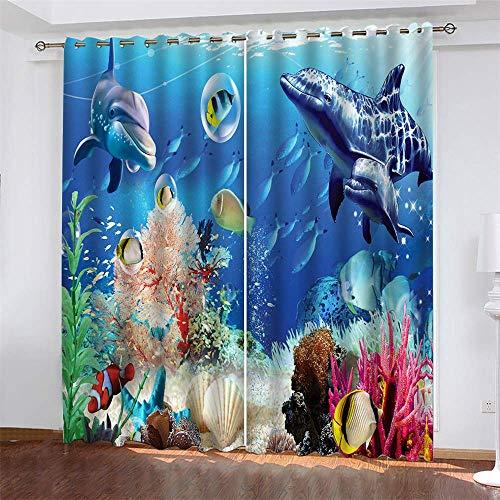 YUNSW Unterwasserwelt 3D Digitaldruck Vorhänge, Garten Wohnzimmer Küche Schlafzimmer Verdunkelungsvorhänge, Lochvorhänge 2-teiliges Set