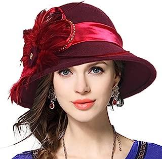 Women's Wool Church Dress Cloche Hat Plumy Felt Bucket Winter Hat