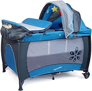 RYMWJY Foldable multi-function game bed with mosquito net baby travel bed for 0-4 years old baby blue