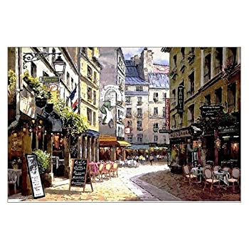 Beautiful Modern Art Watercolor Painting Rich Retro Small streets of Paris cafe Canvas Print Wall Art 18  x 12  Inch Stretched and Framed Artwork Decor Wall Living room Office Art Abstract City Landscape Watercolor Picture Canvas Wall Art Print