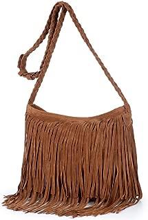 Hobo Hippie Fringe Tassel Faux Suede Shoulder Messenger Cross Body Womens Sling Bag