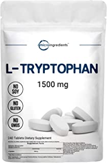 Micro Ingredients L-Tryptophan Supplement, Tryptophan Sleep Aid, 1500mg Per Serving, 240 Caplets, Encourages Positive Mood...