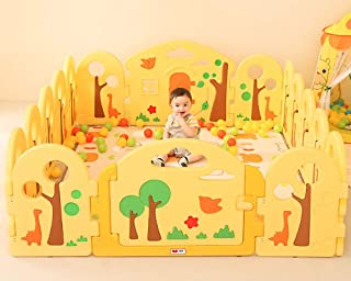 YWQZ Baby fence with Animals Shapes Activity Gym Floor Plastic Playpen Foldable Portable Room Divider Child Kids Barrier Expandable for Indoor and Outdoor