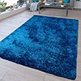 TT Home - Tappeto a pelo lungo, lavabile, Shaggy Flokati, in tinta unita, blu, dimensioni: 200 x 280 cm