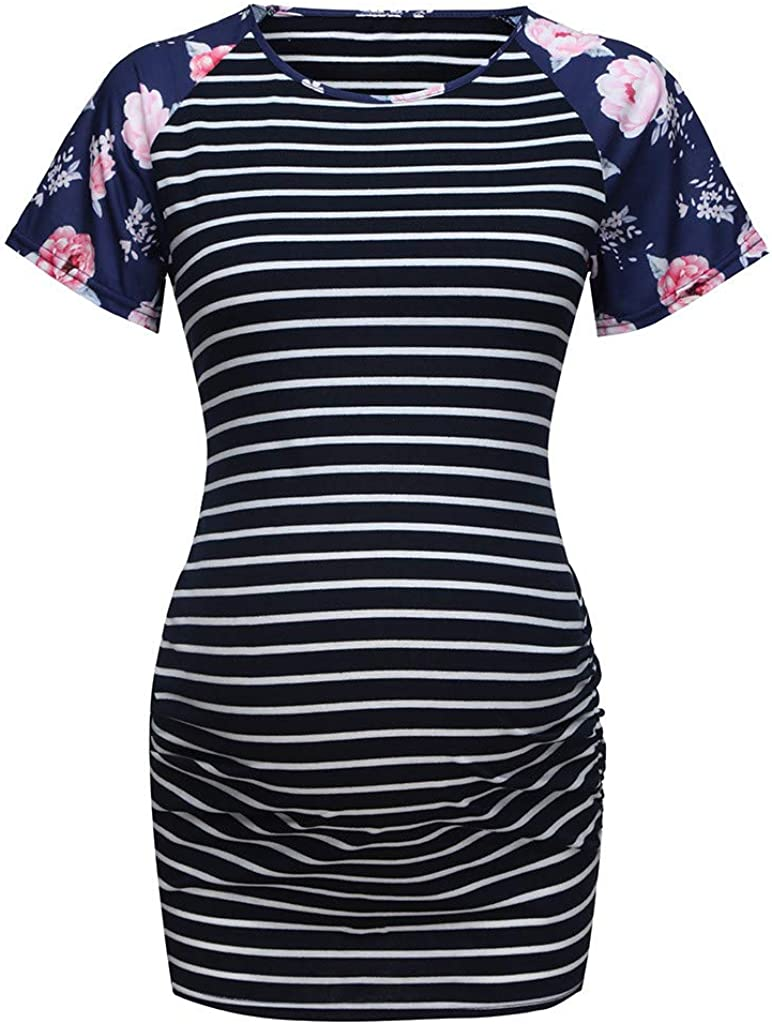 Womens Casual Raglan Short Sleeve Striped Tunic Shirt Summer Floral Print Tops Blouses Dsood Pregnancy Tops
