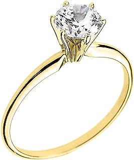 10k Yellow Gold Elegant Cubic Zirconia Solitaire Engagement Ring