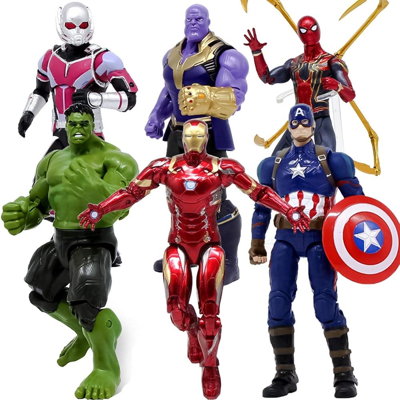 Marvel Avengers 3 Action-Figur  Iron Spider-Man, Iron Man, Hulk, Captain America, Ameisen-Mann, Thanos Action-Figur 7 Zoll Hhe Ca. 18cm, Marvel Toy Set 6