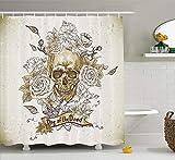 SRJ2018 Schädel Dekorationen Sammlung Schädel mit Rosen Tag der Toten Zeichen Horror Mexikanische Traditionelle KunstBad Duschvorhang e Vanille Weiß Elfenbein