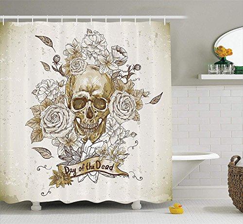 Soefipok Schädel-Dekorations-Sammlung, Schädel mit Rosen-Tag des Toten Zeichens-Grausigkeits-mexikanische traditionelle Kunst, Polyester-Gewebe-Badezimmer-Duschvorhang, Vanille-Weiß-Elfenbein