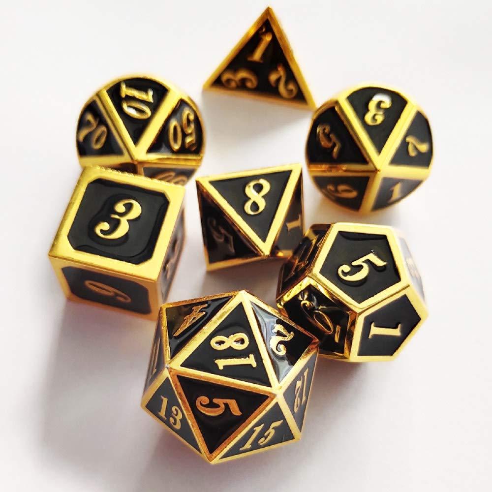 WHFDSBD Dados Poliédricos,Metal Amarillo Negro Brillante Juego De Dados D&Amp;D DND Poliédricas Y Dragones Dados para Juegos De Mesa RPG-DND Dados De Metal: Amazon.es: Hogar
