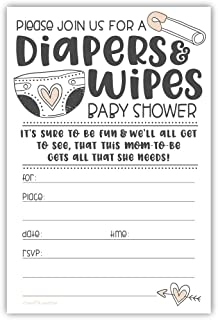Diapers and Wipes Baby Shower Invitations with Envelopes [20 Count]