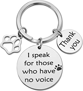 SIDIMELO Veterinarian Gifts Keychain I Speak for Those Who Have No Voice Pet Owner Pet Rescue Gifts for Vegan Veterinary T...