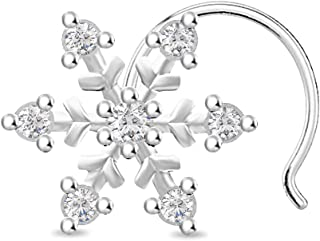 Cubic Zirconia Snowflake Nose Ring Stud Ring for 14k White Gold Over Piercing Jewelry (20 Gauge)