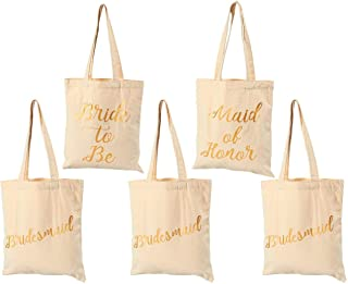 Bridal Shower Canvas Tote Bag - 5-Pack Reusable Shopping Bags for Wedding Favors, Bachelorette Party Gifts, and Bridal Shower Accessories, 100% Cotton Canvas, 13.5 x 12 Inches