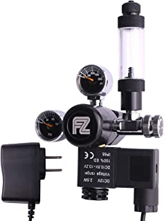 FZONE Aquarium CO2 Regulator DC Solenoid Mini Dual Gauge Display with Bubble Counter and..