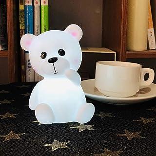 Dilwe - Lámpara de noche LED con diseño de oso animal, para niños en las ocasiones del festival de cumpleaños de Navidad, color blanco