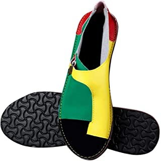 Women'S Sandals,Women Shoes Soft Faux Leather Women Sandals Female Flat Sandals Women Casual Summer Beach Shoes Female Buckle,Yellow And Green